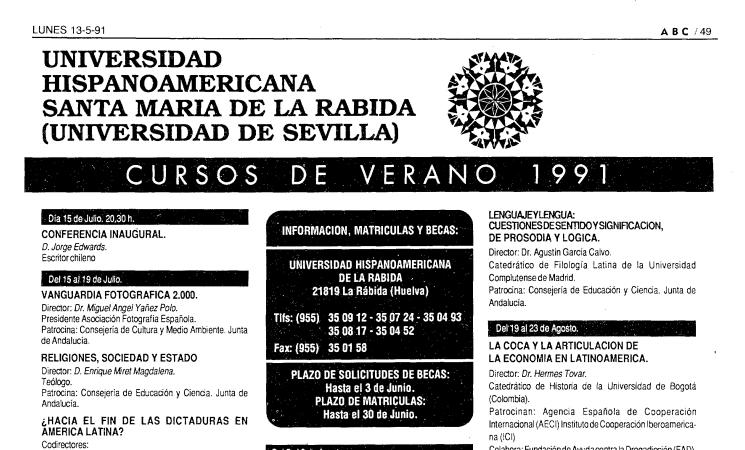 13 de mayo de 1991: Programa de cursos de verano de la Rábida