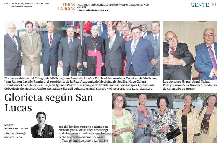 19 de octubre de 2011: Noticia Colegio de Médicos otorga medalla Colegiado de Honor.