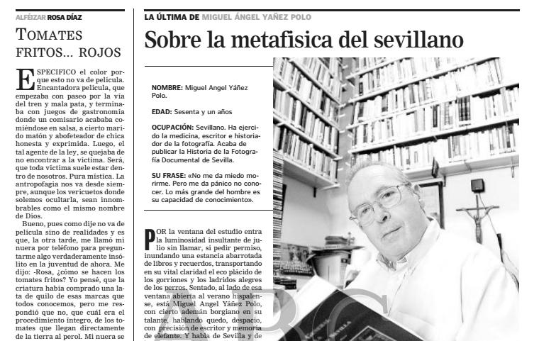 """22 de julio de 2002: Entrevista """"Sobre la metafísica del sevillano"""""""