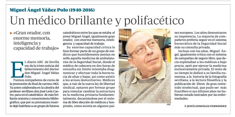 """20 de enero de 2016: """"Un médico brillante y polifacético"""""""