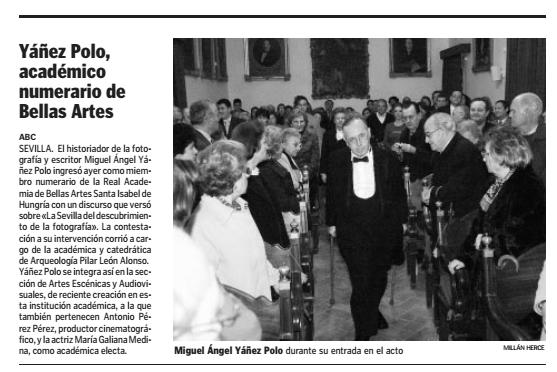 31 de enero de 2004: Noticia ingreso Academia BB.AA.